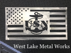 Steel Navy American Flag