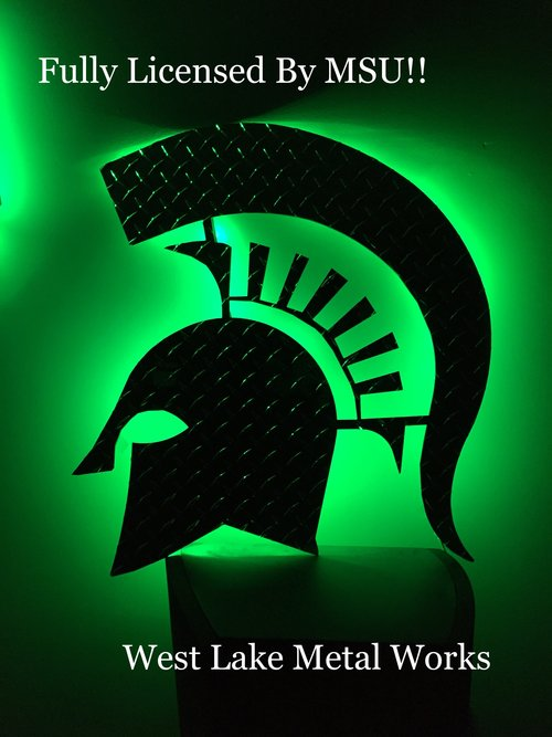24 INCH LED BACKLIT DIAMOND PLATE SPARTAN HEAD
