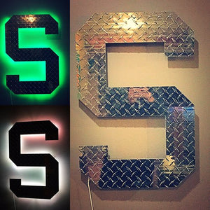 "24 INCH LED BACKLIT SPARTAN DIAMOND PLATE BLOCK ""S"""