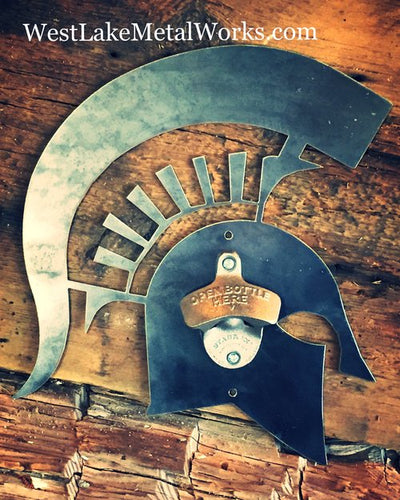 SPARTAN HEAD STEEL BOTTLE OPENER - VINTAGE STEEL