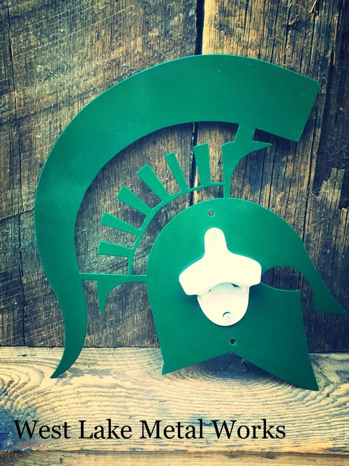 SPARTAN HEAD STEEL BOTTLE OPENER - GREEN