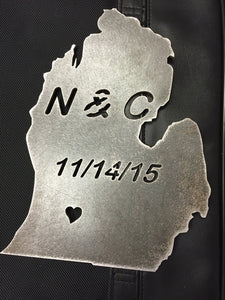STEEL WEDDING GIFT WITH INITIALS/DATE/HEART