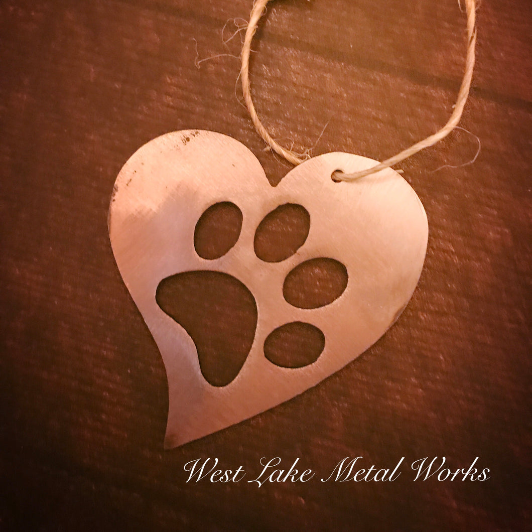 Heart Shaped Paw Print Christmas Ornament
