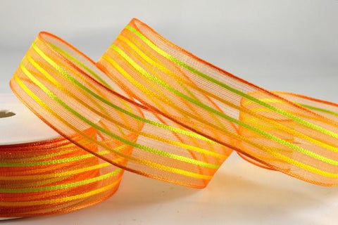 40mm Colour Woven Wired Striped Ribbon x 20 Metres!!