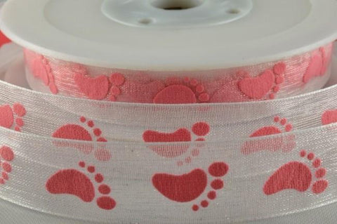 15mm Sheer Printed Baby Feet Ribbon x 20 Metre Rolls!!