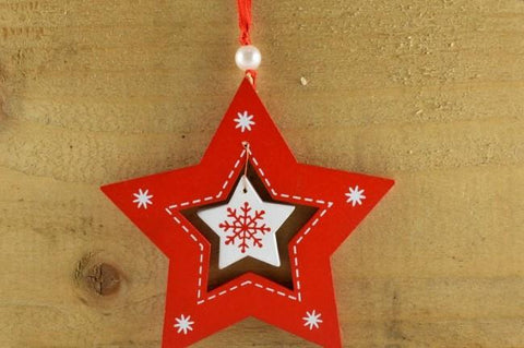 Red Coloured Snowflake star with Attached Ribbon Loop