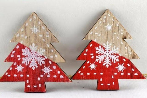 Red 45mm Self Adhesive Wooden Snowflake Christmas Trees x 6 Pieces!