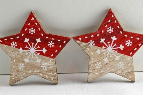 Red 45mm Self Adhesive Wooden Snowflake Stars x 6 Pieces!