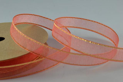 10mm Sheer Ribbon with Gold Edge x 3 Metre Rolls!!