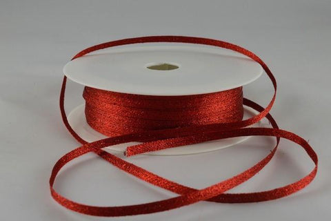 3mm Red Woven Glitter Ribbon x 20 Metre Rolls!