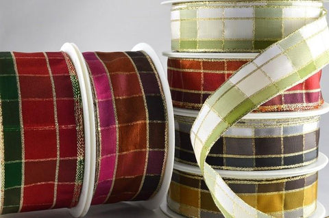 15mm, 25mm & 40mm Regal Plaid Wired Ribbon x 20 Metre Rolls!!