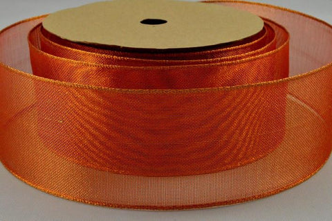 40mm Orange Wired Strong Webbed Sheer Ribbon x 3 Metre Rolls!!