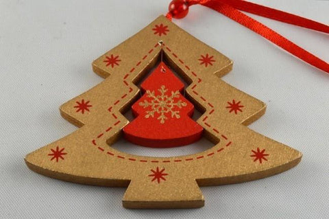 Gold Christmas Tree Snowflake Decoration with Ribbon Loop