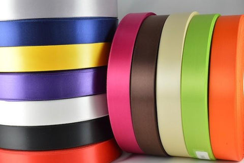 15mm, 25mm & 38mm Single Faced Satin Ribbon x 100 Metre Rolls