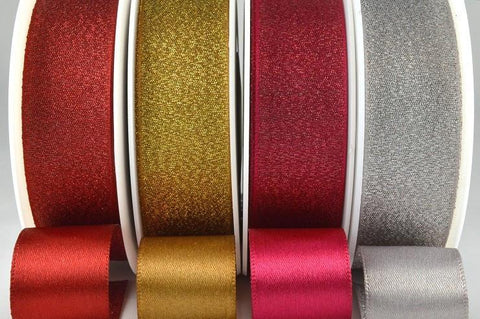 25mm Satin Glitter Ribbon x 20 Metre Rolls!