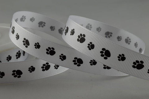 16mm Grosgrain Paw Feet Ribbon x 20 Metres!!