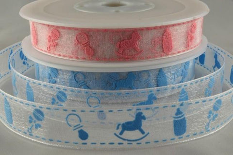 15mm Sheer Baby Design Printed Ribbon x 20 Metre Rolls!