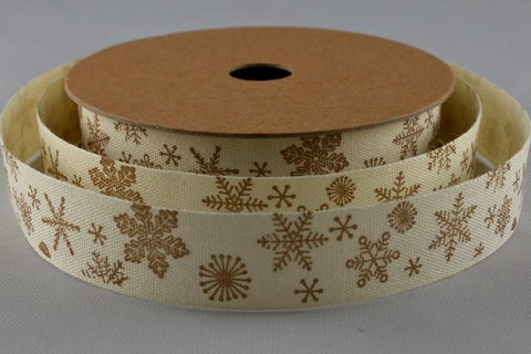 15mm Snowflake Printed Cotton Ribbon x 10 Metre Rolls!!