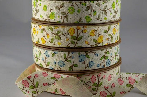 15mm Cotton Cream Printed Floral Ribbon x 10 Metres!!