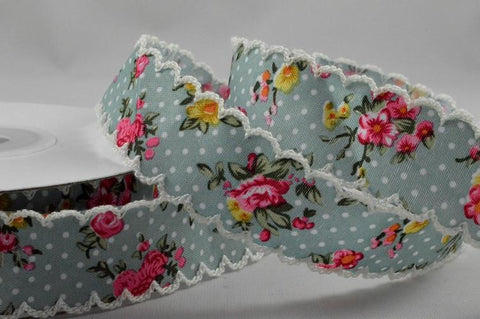 25mm Flower Printed Zigged Edge Ribbon Design x 10 Metre Rolls!!