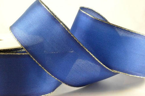 25mm Blue Wired Ribbon with Lurex Edge x 3 Metre Rolls!!