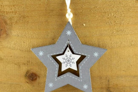 Silver Coloured Snowflake star with Attached Ribbon Loop
