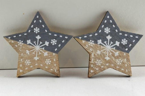 Silver 45mm Self Adhesive Wooden Snowflake Stars x 6 Pieces!