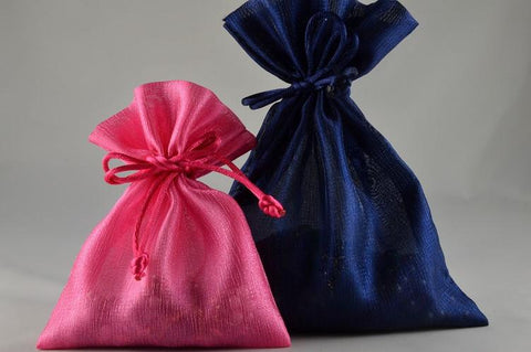 Coloured Satin bags with Tassels  (6 Bags per Pack)