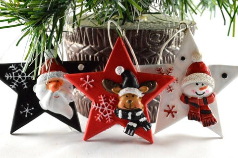 3 Piece Set - Christmas Tree Star Decorations with Hanging Loops