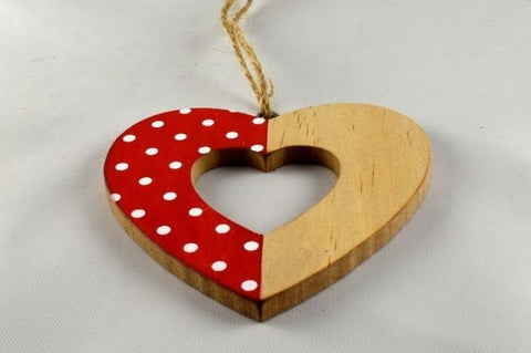 Heart Polka Dot Christmas Tree Decoration & Cord Looping