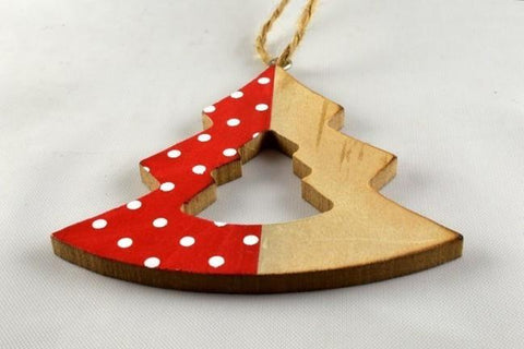 Christmas Tree Polka Dot Wooden Decoration & Cord Looping