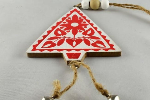 White Wooden Christmas Tree Decoration & Cord Loop