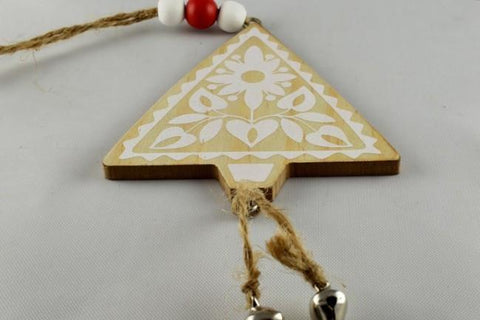 Cream Wooden Christmas Tree Decoration & Cord Loop