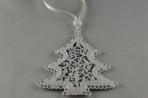 White Metal Glitter Christmas Tree Decoration & White Ribbon Loop