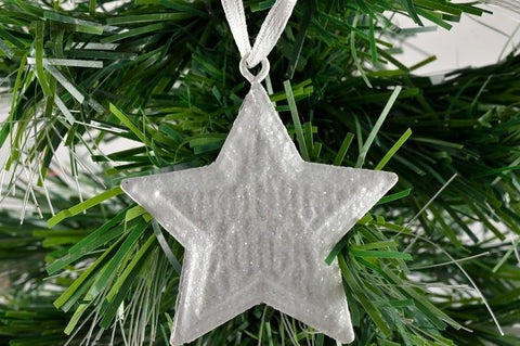 White Metal Glitter Hanging Star & White Ribbon Loop