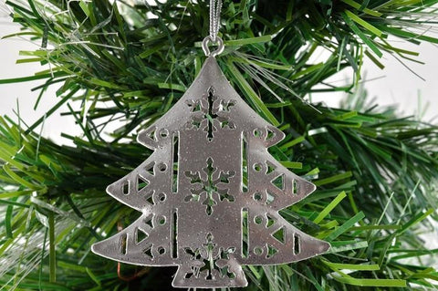 Silver Metal Christmas Hanging Tree Decoration