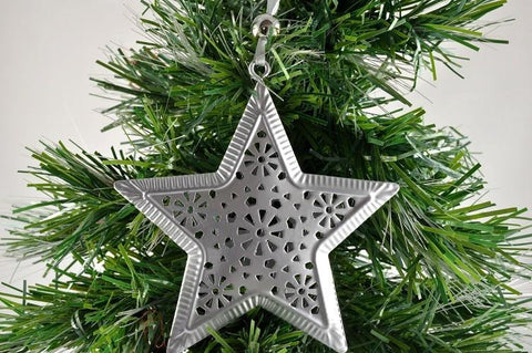 Silver Decorative Christmas Hanging Star x 1 Piece!