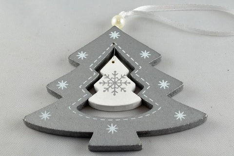 Silver Christmas Tree Snowflake Decoration with Ribbon Loop