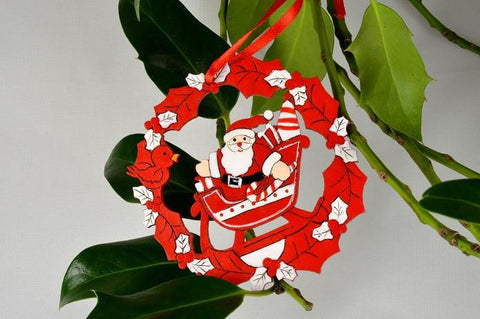 Santa & Sleigh Hanging Christmas Tree Decoration