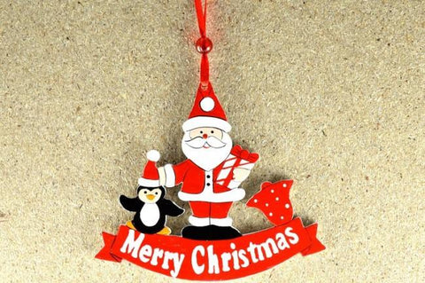 Merry Christmas Santa & Penguin with Loop Hanging