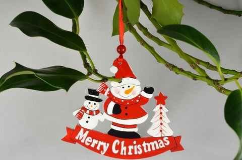 Wooden Merry Christmas Decoration - Santa & Snowman