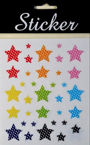 Multicoloured Spotted Star Stickers