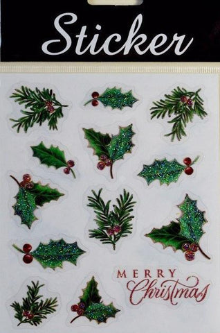 Holly Leaf/ Mistletoe Merry Christmas Stickers