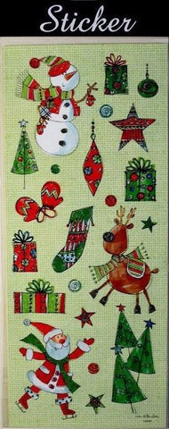 Red & Green Reindeer, Snowmen & Santa Christmas Stickers