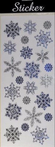 Blue & Silver Christmas Snowflake Stickers