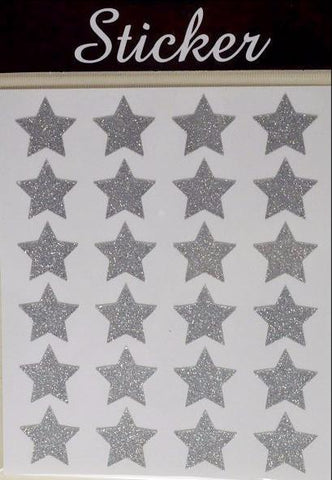 24 Pack of Silver Christmas Glitter Stars