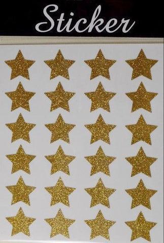 24 Pack of Gold Christmas Glitter Stars