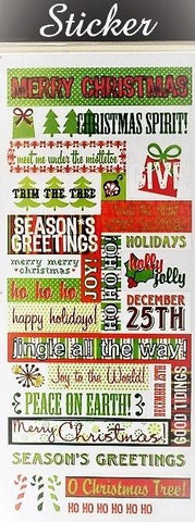 Red & Green Merry Christmas Sticker Selection