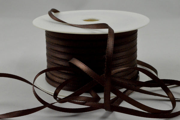 3mm Brown Double Sided Satin Ribbon x 100 Metre Rolls!