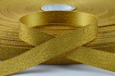 15mm Golden Lurex Satin Ribbon x 300 Metre Rolls!!